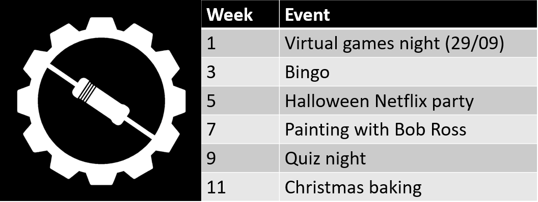 BEAMES logo with list of events: week 1 is virtual games night, week 3 has bingo, week 5 is a halloween Netflix party, week 7 has painting with Bob Ross, week 9 is a quiz night and week 11 is Christmas baking
